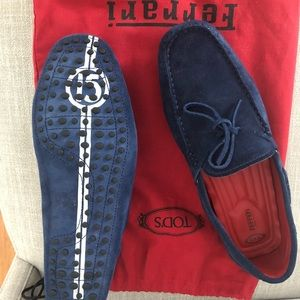 New Tod's blue suede Ferrari driving shoes.